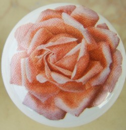 Cabinet pull Knob Peach Rose Blossom flower