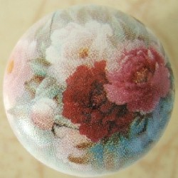 Cabinet pull Knob Peony Bouquet flower