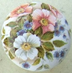 Cabinet Knob Pink White Blue Flowers