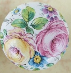 Cabinet pull Knob Pink Yellow Rose flower