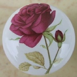CERAMIC CABINET KNOB  PINK RED maroon ROSE ROSES flower