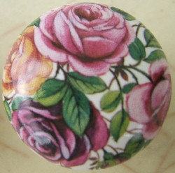 Cabinet Knob Pink Yellow Rose flower