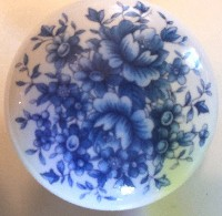 Cabinet Knob blue delft roses flower pull