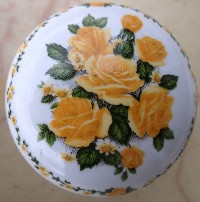 CERAMIC CABINET pull KNOB  YELLOW ROSE ROSES flower