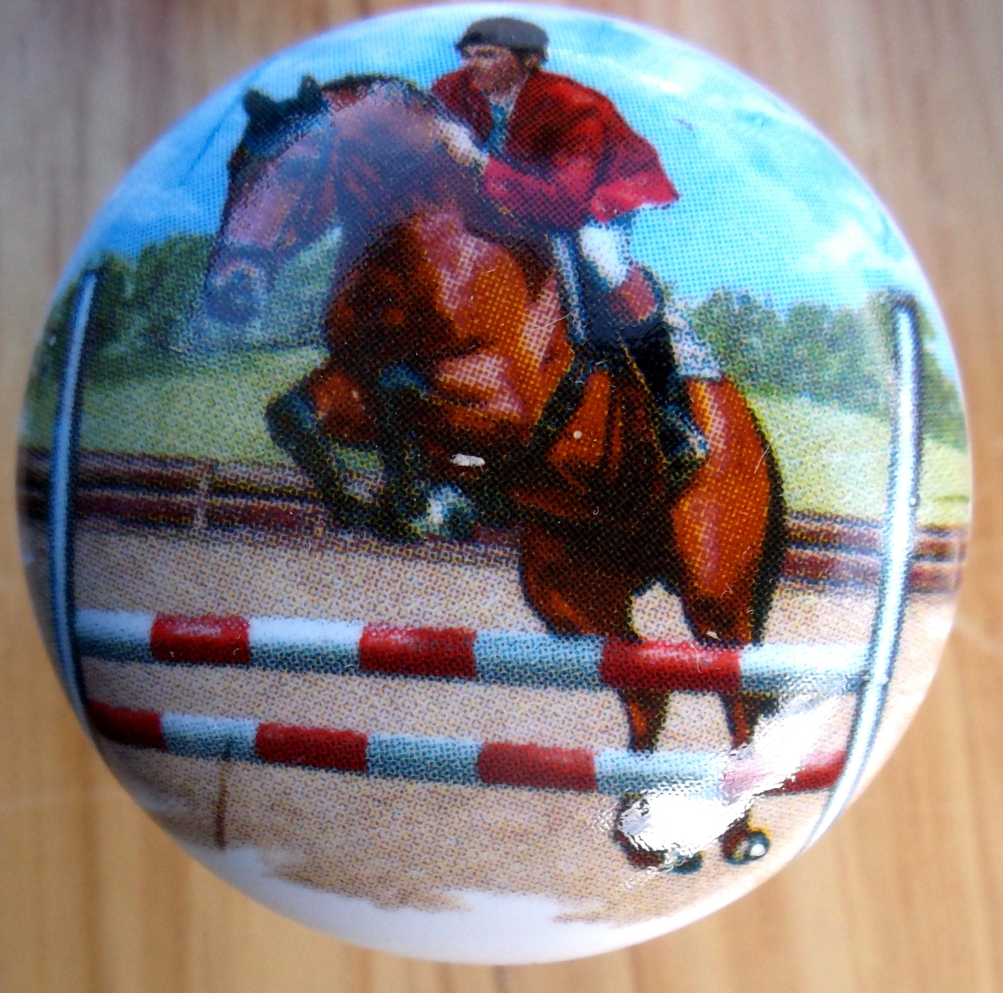 CERAMIC CABINET KNOBS HORSE JUMP Racing ...