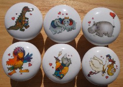 Cabinet knobs w/6 Cute Animal