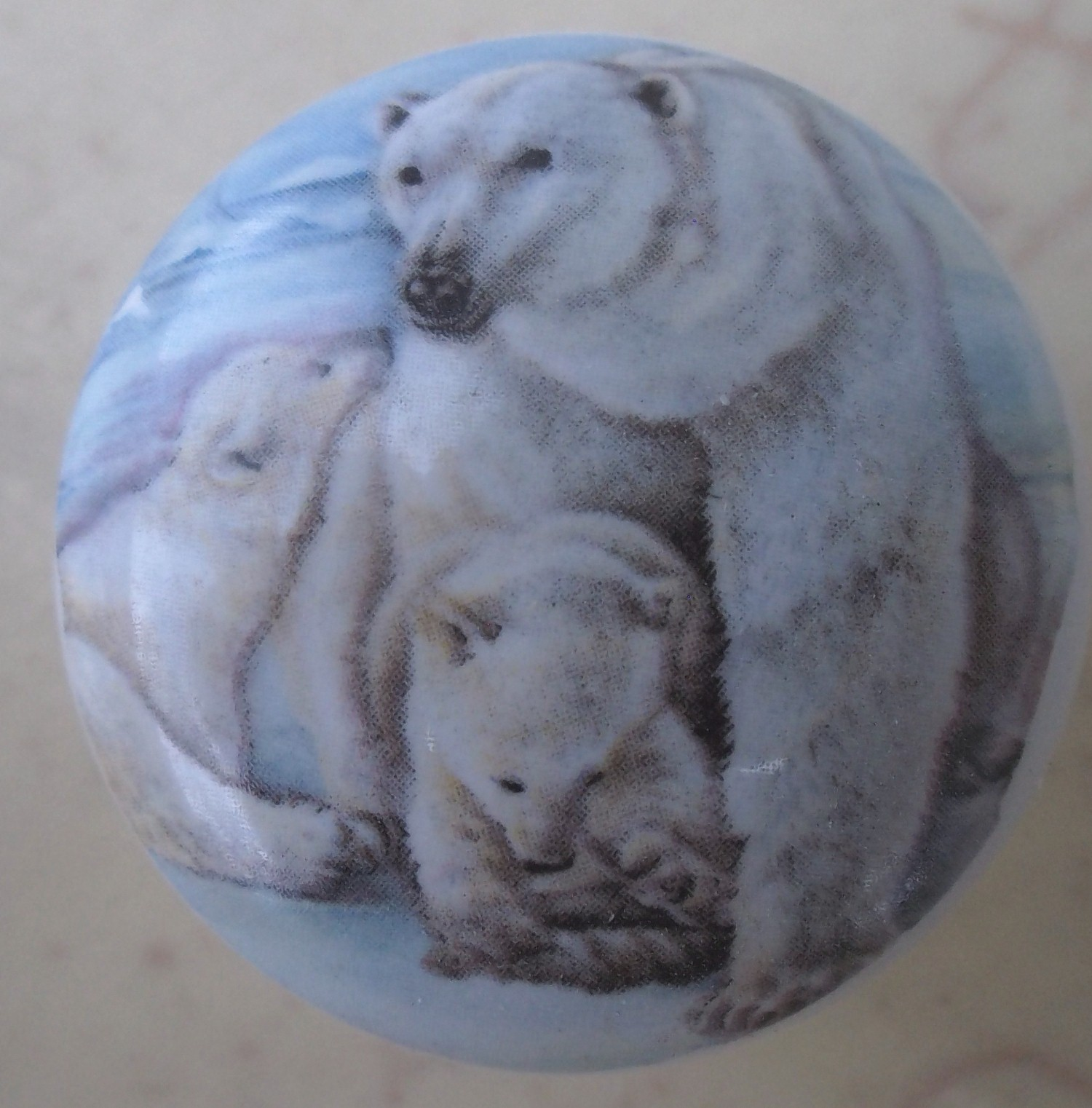 Cabinet Knob Polar Bear Family $3.75