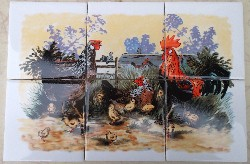 Ceramic Tile Mural Chicken family