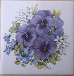 Ceramic tile pansies